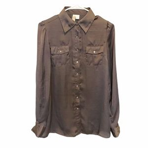 Adiva Chocolate Brown Button Down Silver Snaps